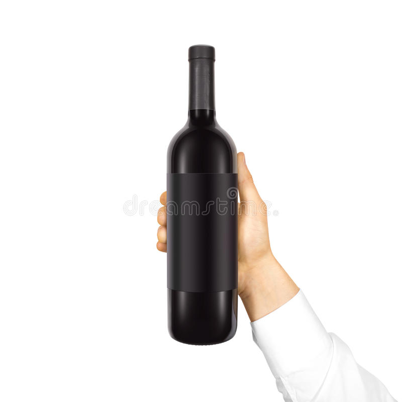Tom svart etikettmodell på flaskan av rött vin royaltyfri bild