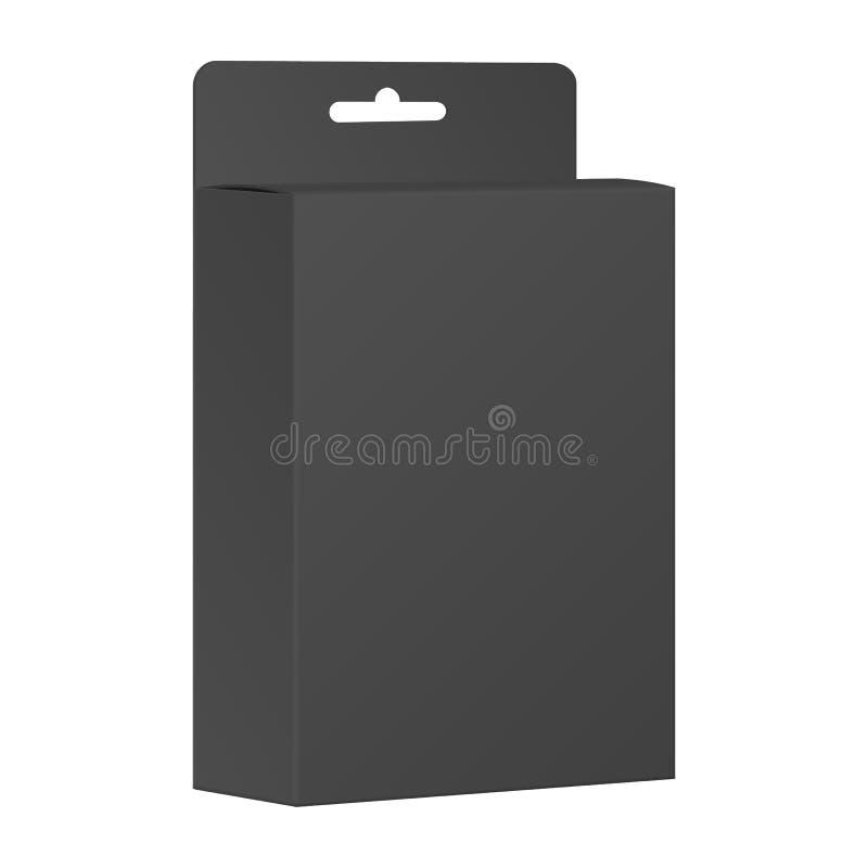 Tom svart produktpackeask. Vektor vektor illustrationer