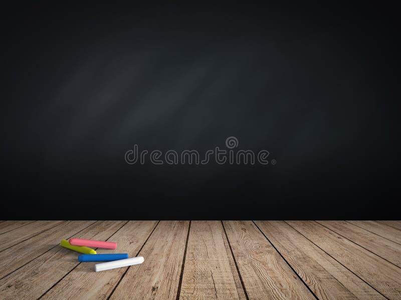 Tom svart tavla med chalks arkivbilder