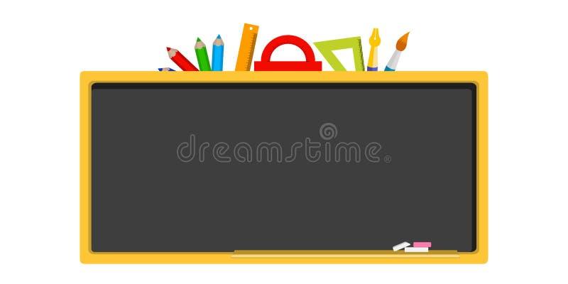 Tom svart tavla, skolförvaltning, brevpapper i en plan design vektor illustrationer