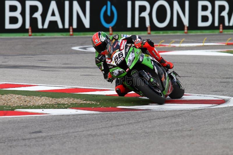 Tom Sykes #66 στη συναγωνιμένος ομάδα Superbike WSBK Kawasaki zx-10R Kawasaki στοκ εικόνα