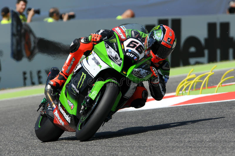 Tom Sykes Kawasaki ZX-10R Kawasaki Racing Team SBK Imola 2015 royalty free stock photos