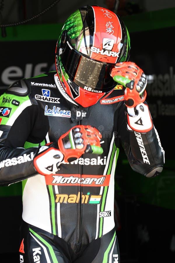 Tom Sykes #66 on Kawasaki ZX-10R Kawasaki Racing Team Superbike WSBK royalty free stock photography