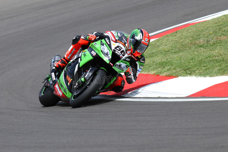 Tom Sykes #66 on Kawasaki ZX-10R Kawasaki Racing Team Superbike WSBK royalty free stock photos