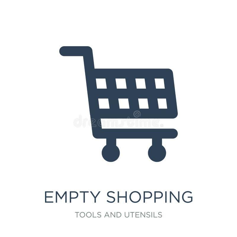 tom symbol för shoppa korg i moderiktig designstil tom symbol för shoppa korg som isoleras på vit bakgrund tom shopping för korg stock illustrationer