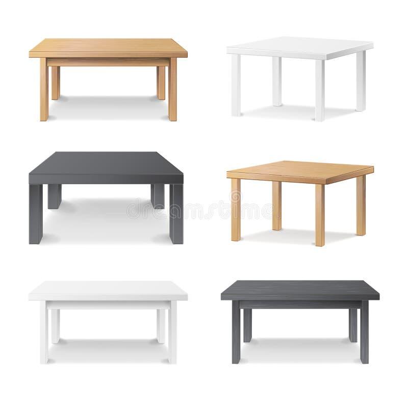 Tom tabelluppsättningvektor Trä plast-, vitt, svart Isolerat möblemang, plattform Mall för objektpresentation Realistiskt V royaltyfri illustrationer