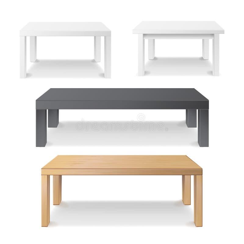 Tom tabelluppsättningvektor Trä plast-, vitt, svart Isolerat möblemang, plattform Realistisk vektorillustration royaltyfri illustrationer