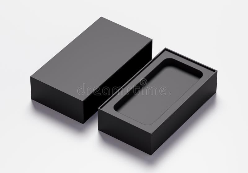 Tom telefonask i svart färg - illustration 3D royaltyfri illustrationer