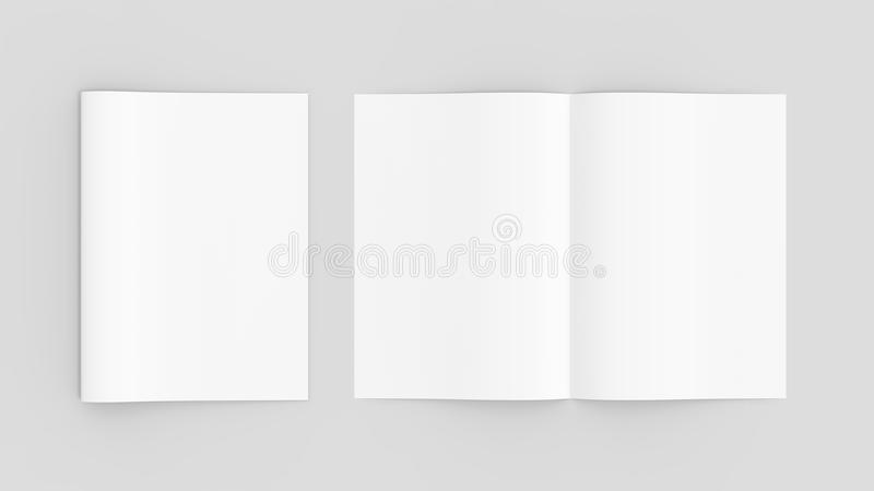 Tom tidskrift- eller broschyrmodell som isoleras på mjuk grå backgrou royaltyfri illustrationer