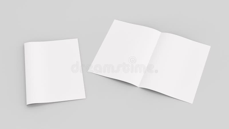Tom tidskrift- eller broschyrmodell som isoleras på mjuk grå backgrou arkivfoton