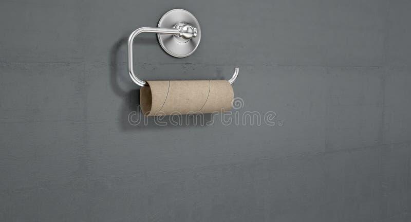 Tom toalettrulle på den Chrome hängaren stock illustrationer