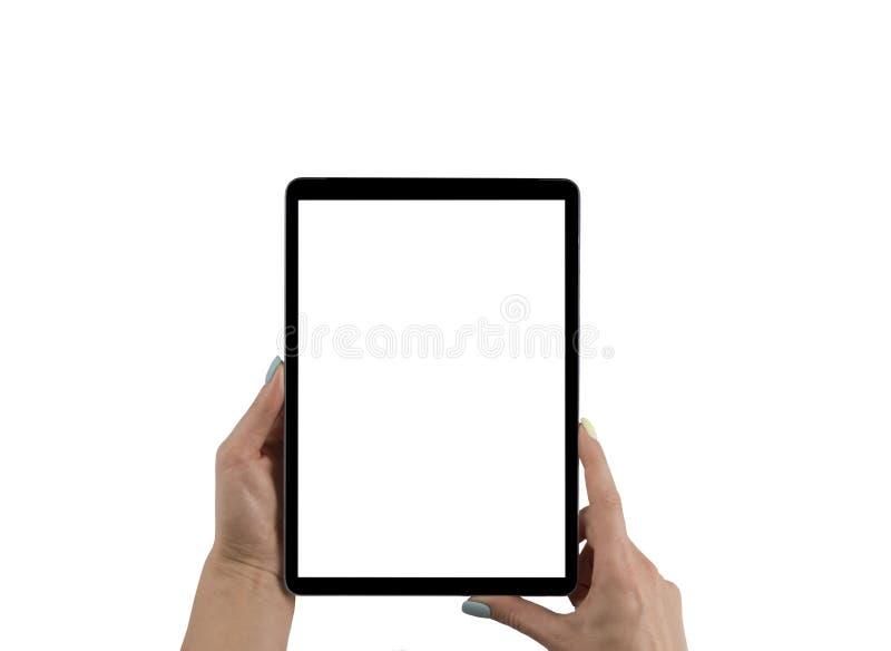 Tom tom minnestavladator i händerna av flickan Isolerat på vit Tom tom vit skärm Tomt avstånd för text royaltyfria bilder