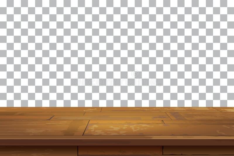 Tom träbakgrund för tabellöverkant Gammal tappninghyllatex royaltyfri illustrationer
