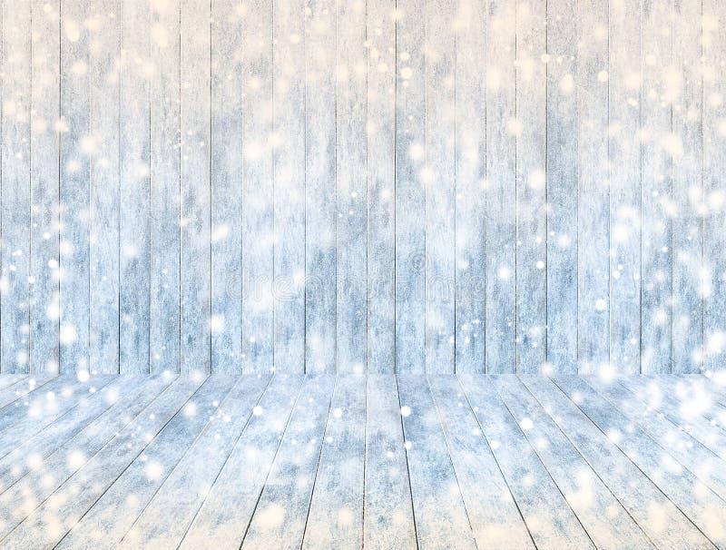 Tom träispanelbakgrund och träis däckar eller bordlägger med snö fotografering för bildbyråer