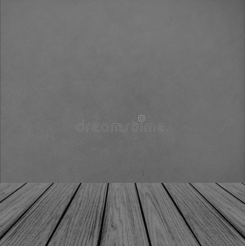 Tom träperspektivplattform med abstrakt Grunge Gray Wall Background Texture som används som mall för att förlöjliga upp för skärm royaltyfria bilder