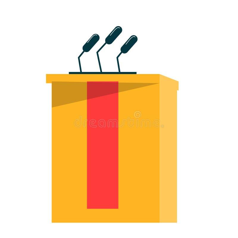Tom tribune för konferens, debatt och presentation royaltyfri illustrationer