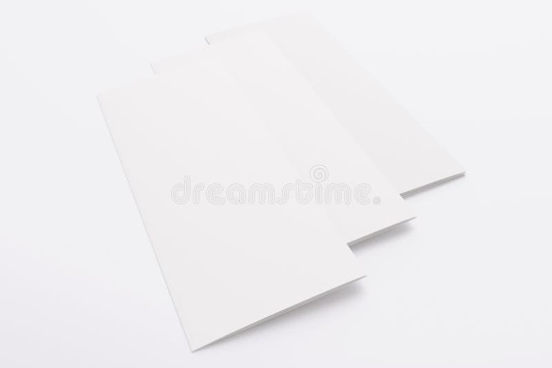 Tom trifold broschyr som isoleras på vit arkivbilder