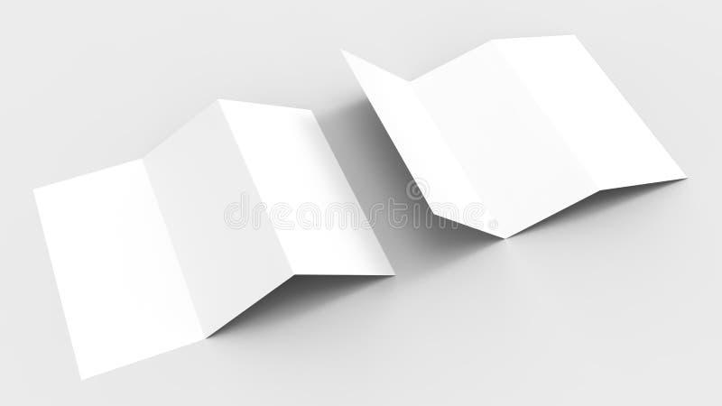 A4 Tom trifold pappers- broschyrmodell på mjuk grå bakgrund royaltyfri fotografi
