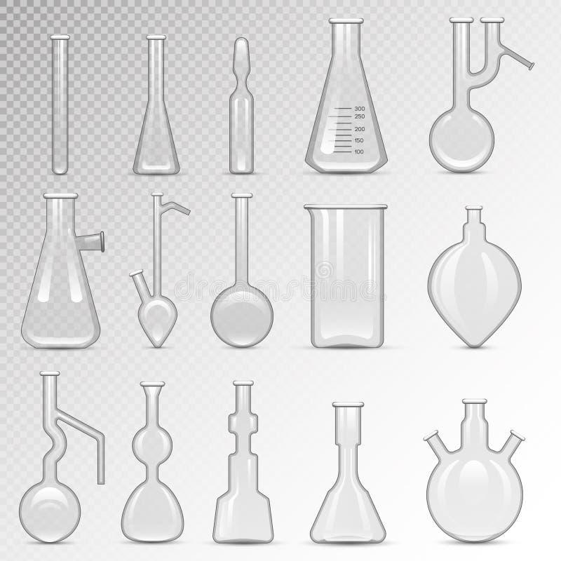 Tom uppsättning för labbflaskavektor vektor illustrationer