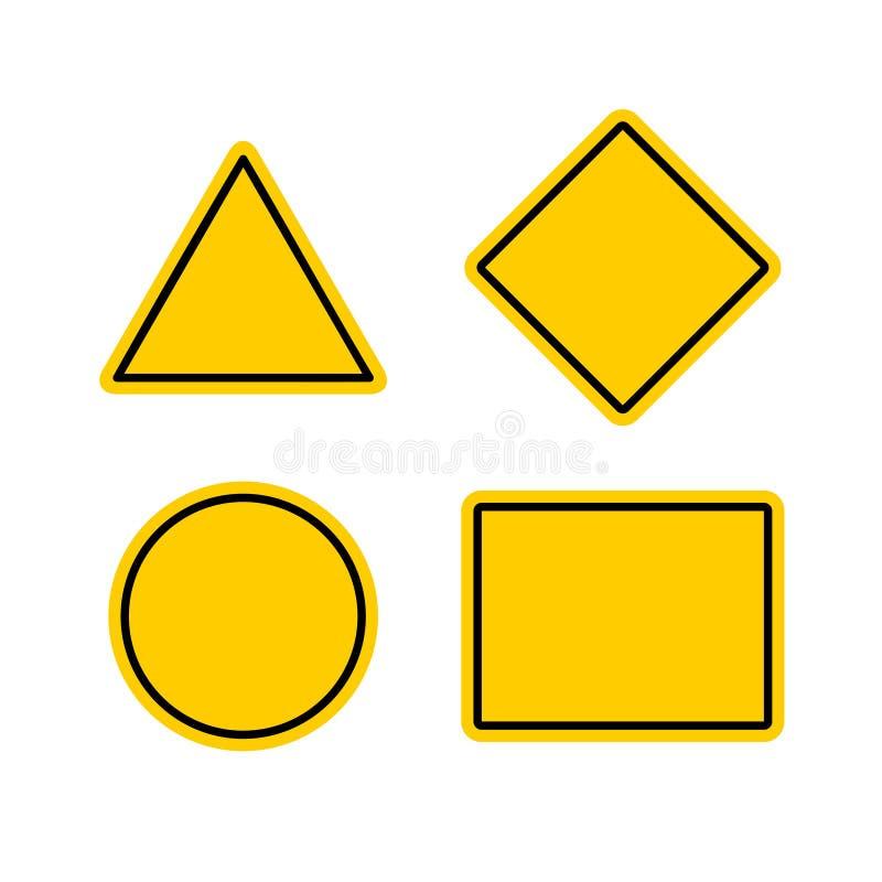Tom uppsättning för mallar för varningstecken vektor illustrationer