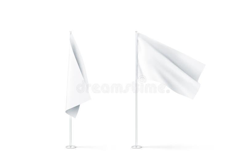 Tom uppsättning, slätt och vinka för modell för vita flaggor royaltyfri illustrationer