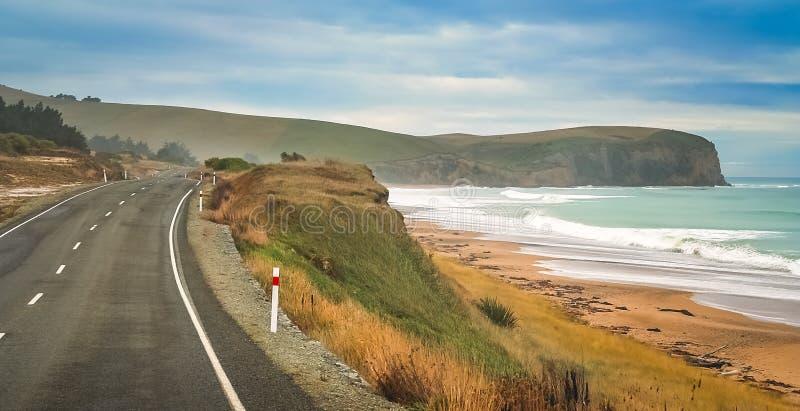 Tom väg längs nyazeeländsk kust royaltyfri foto