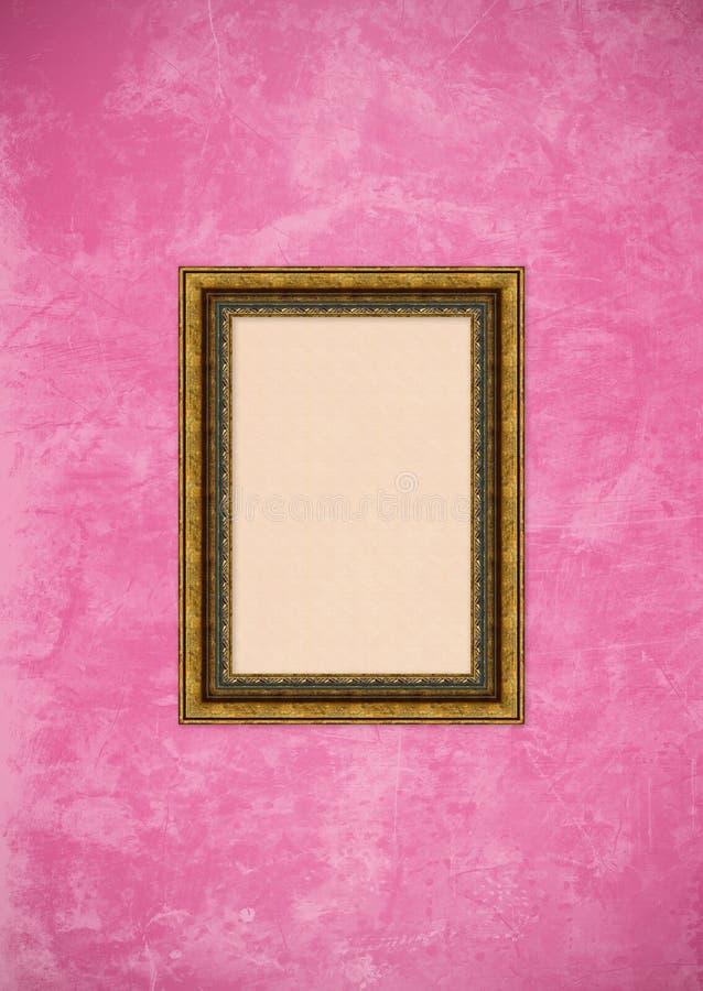 tom vägg för stuckatur för pink för ramgrungebild royaltyfri bild