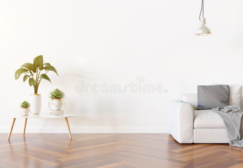 Tom vägg i vardagsrummodell med den soffa- och för garneringar 3D tolkningen vektor illustrationer