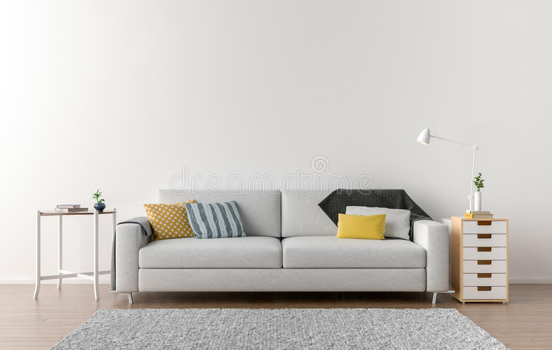 Tom vardagsrum med den vita väggen i bakgrunden fotografering för bildbyråer