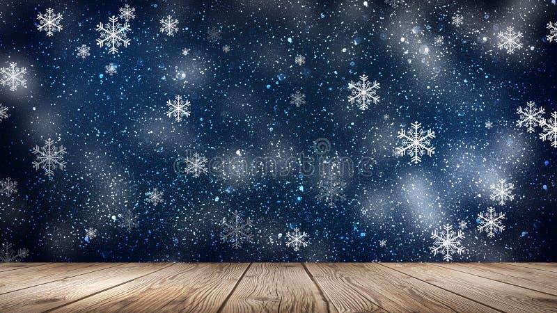 Tom vinter snöbakgrund, trätabell, tom plats av vinterlandskapet Abstrakta snöflingor, snö royaltyfri illustrationer
