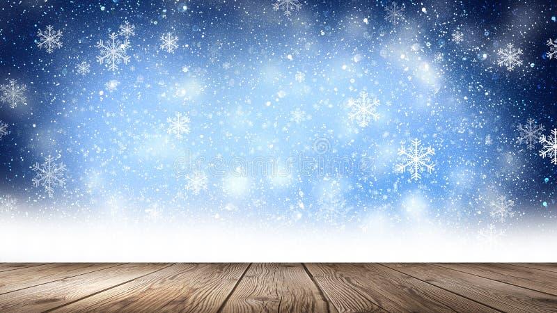 Tom vinter snöbakgrund, trätabell, tom plats av vinterlandskapet Abstrakta snöflingor, snö vektor illustrationer