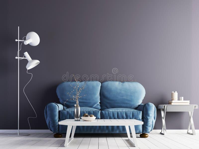 Tom violett vägg i modern inre med det blåa soffa- och vitgolvet & den låga tabellen stock illustrationer