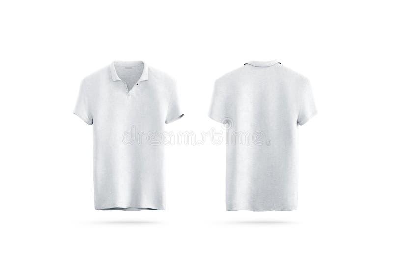 Tom vit åtlöje för poloskjorta som isoleras som upp är främre och som är tillbaka royaltyfri illustrationer