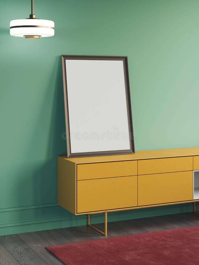 Tom vit affisch på det gula skåpet bredvid gröna väggar, tolkning 3d arkivbild