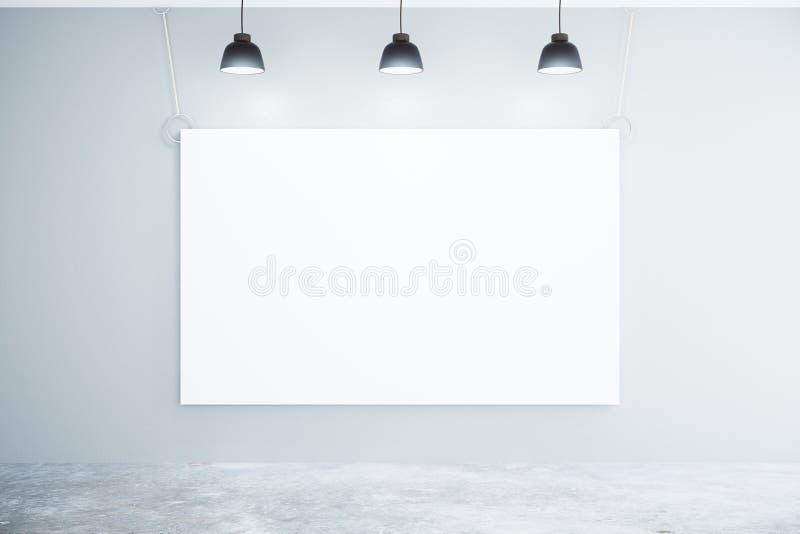 Tom vit affisch på väggen med lampor vektor illustrationer