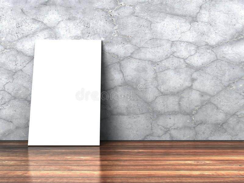 Download Tom Vit Affischbillbord På Den Trägolv Och Betongväggen Stock Illustrationer - Illustration av abstractionism, skadlig: 78729465