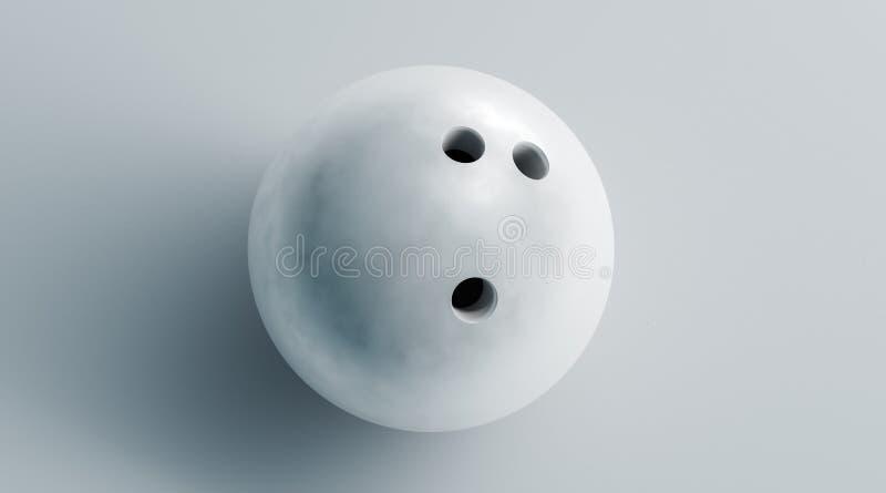 Tom vit bowlingklotåtlöje upp, bästa sikt, tolkning 3d royaltyfri fotografi