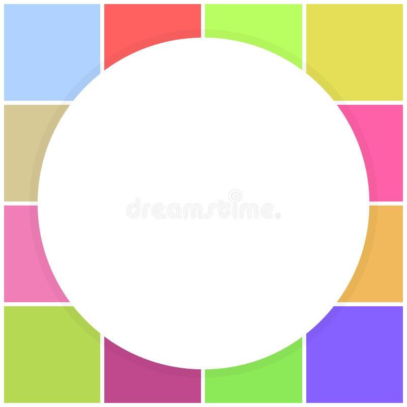Tom vit cirkel för baner på färgrika fyrkanter rutigt kvarter, regnbåge för färg för mallbanerkontrollör mång-, mjukt f royaltyfri illustrationer