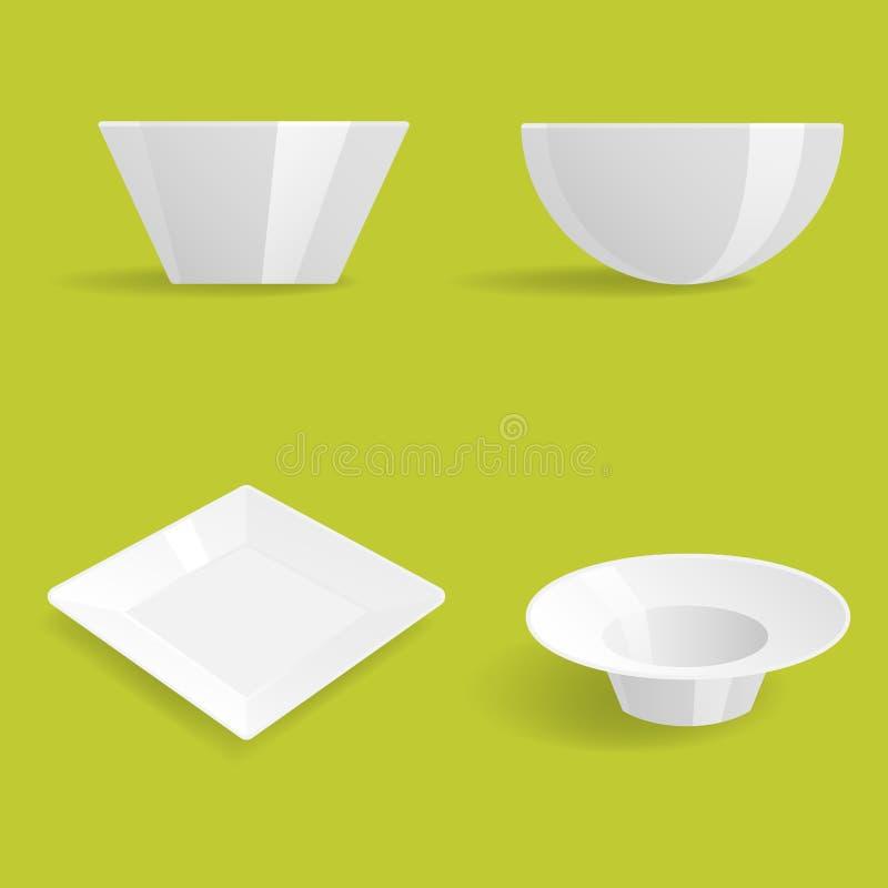 Tom vit för vektorillustration för plattor uppsättning isolerad bordsservis för rengöring för mellanrum för design för matställe  vektor illustrationer