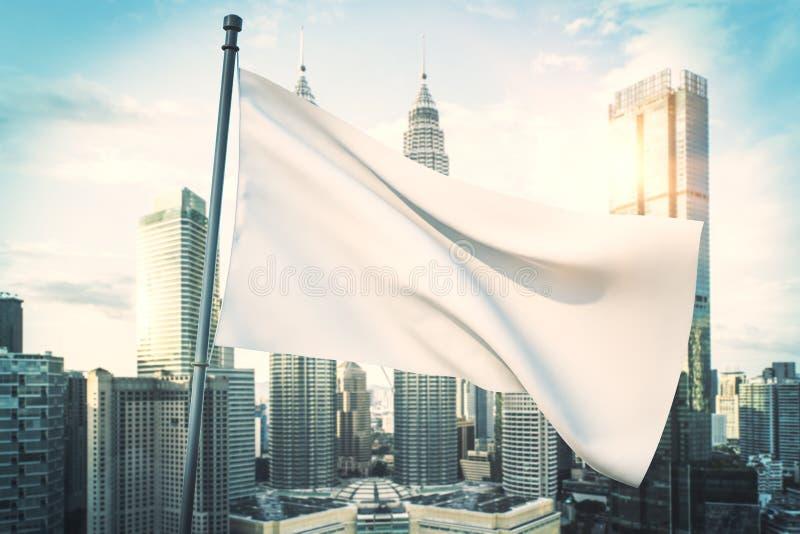 Tom vit flagga i stad stock illustrationer