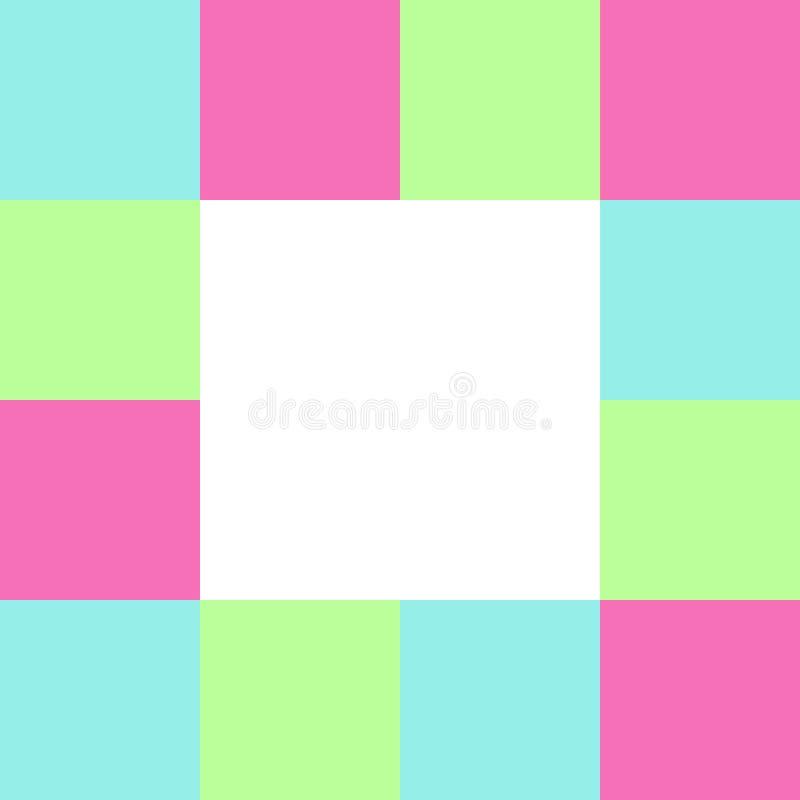 Tom vit fyrkant på fyrkanter rutigt kvarter, regnbåge för färg för mallbanerkontrollör mång-, mjukt färgrikt kvarter för pastellf royaltyfri illustrationer