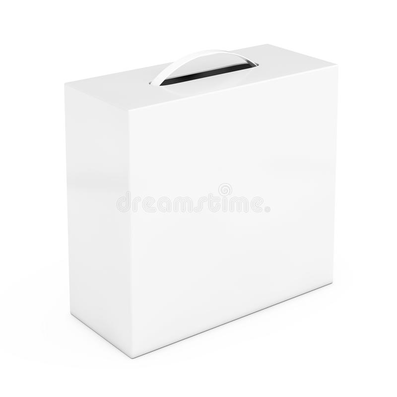 Tom vit kartongmodell med det plast- handtaget framf?rande 3d stock illustrationer