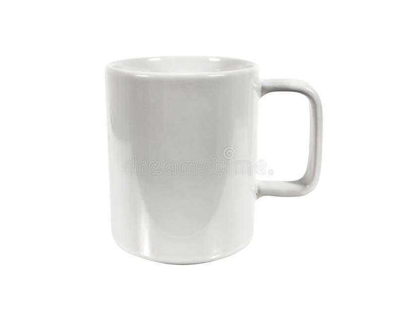 Tom vit keramisk kopp som isoleras pÃ¥ vit bakgrund fotografering för bildbyråer