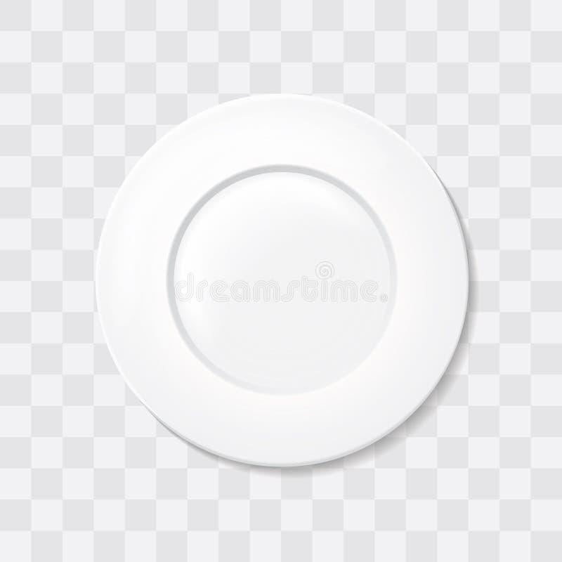 Tom vit klassisk cirkelplatta Vektor för maträtt för bästa sikt realistisk royaltyfri illustrationer