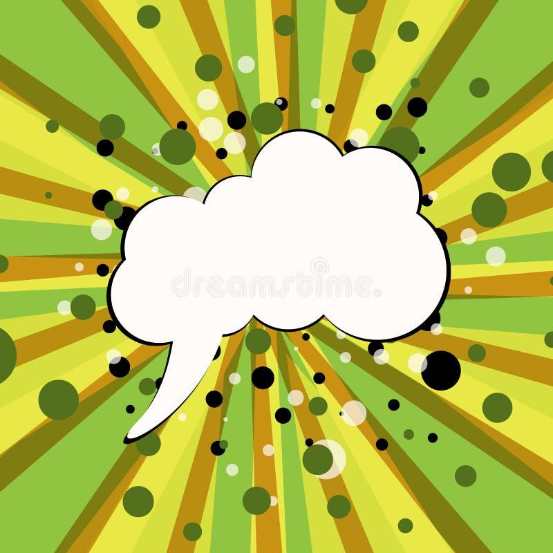 Tom vit komisk bubbla f?r din text p? gul och gr?n bakgrund Komiska solida effekter i stil f?r popkonst ocks? vektor f?r coreldra stock illustrationer