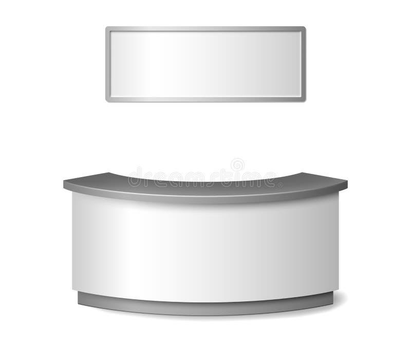 Tom vit mottagandemodell Rund illustration för räknare för informationsskrivbord som eller utställningisoleras på vit bakgrund 3d vektor illustrationer