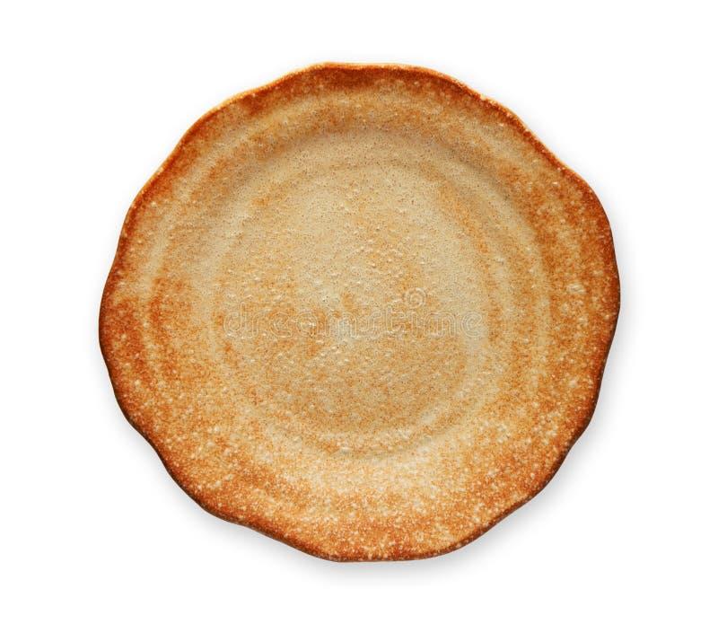 Tom vit platta med den krabba kanten, bageriplatta, sikt från över som isoleras på vit bakgrund med den snabba banan arkivfoton