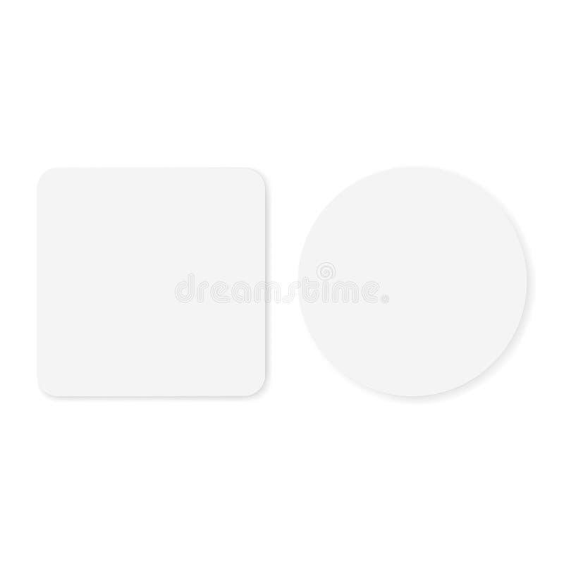 Tom vit runda två och fyrkantiga klistermärkear vektor illustrationer