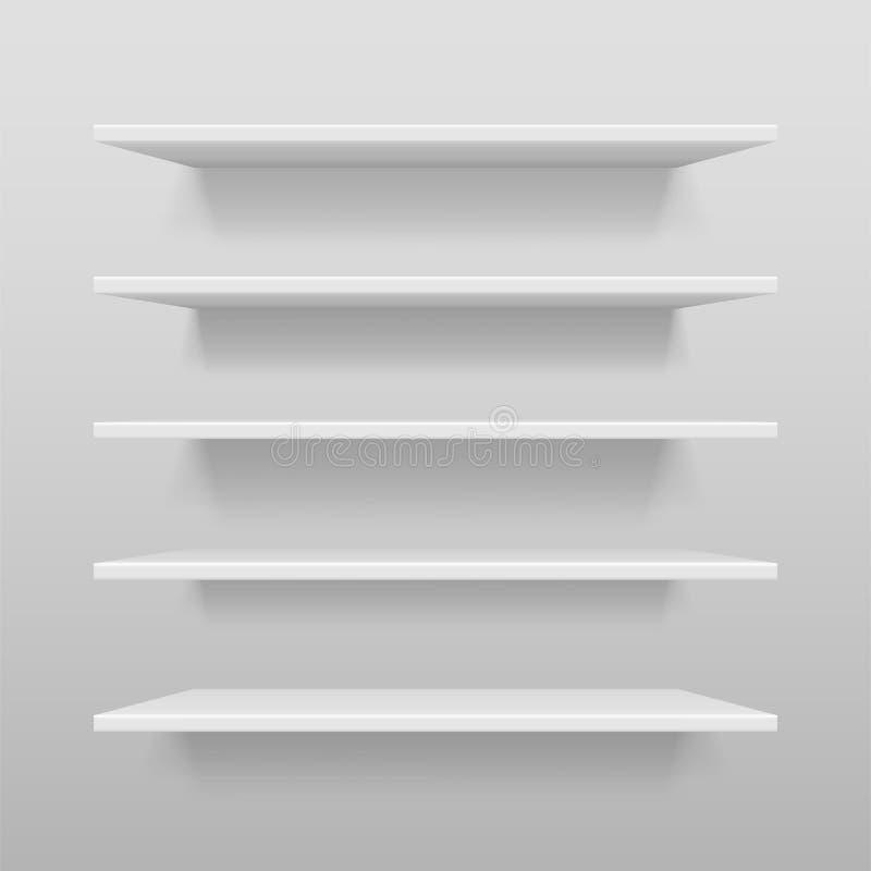 Tom vit shoppar, eller utställninghyllan, återförsäljnings- vit bordlägger modellen Realistisk vektorbokhylla med skugga på vägge vektor illustrationer