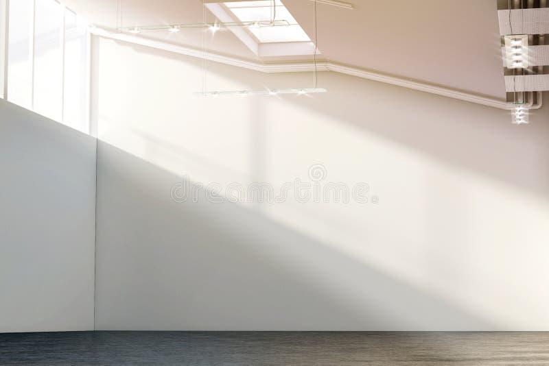 Tom vit stor väggmodell i soligt modernt galleri royaltyfri illustrationer